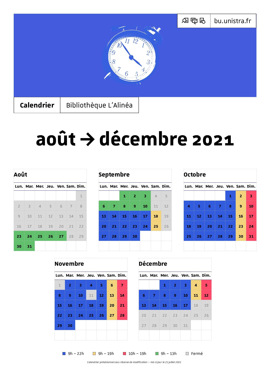 Calendrier août > décembre 2021
